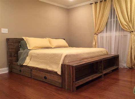 reclaimed pallet wood platform bed  storage drawers