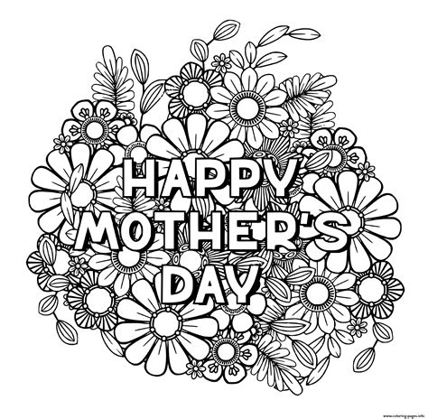 happy mothers day  adult flowers nature coloring pages printable