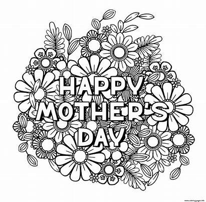 Coloring Mothers Adult Pages Happy Flowers Nature