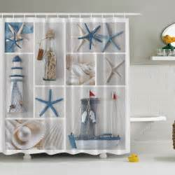 nautical theme bathroom fabric shower curtain star