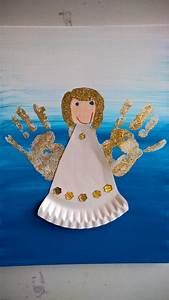 Basteln Mit Glitzer : handabdruck engel mit pappteller kleid handprint angel ~ Lizthompson.info Haus und Dekorationen
