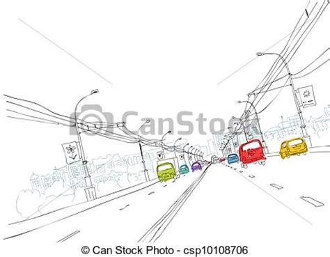 vector clipart  sketch  traffic road  city