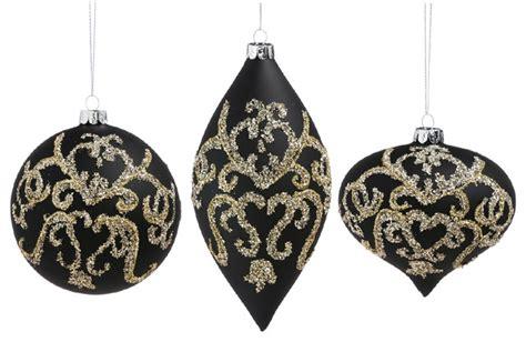 black gold christmas ornaments evergreen enterprises inc cypress home gold and black embellished glass ornaments 3
