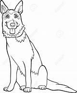 Shepherd German Coloring Dog Cartoon Illustration Animals Featurepics sketch template