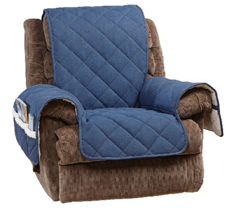 sure fit reversible denim to sherpa recliner furniture