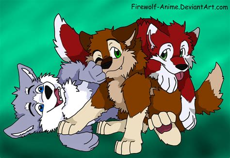 Three Wolf Pups By Firewolf-anime On Deviantart