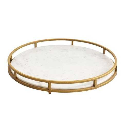 Round Gold and White Marble Serving Tray