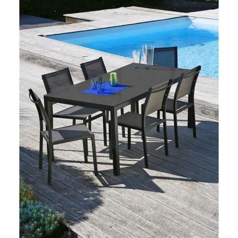 Table Et Chaises by Oman Ensemble Table Et Chaises Aluminium 6 Places Gris
