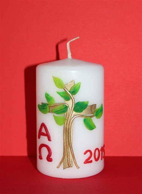 osterkerze selber basteln osterkerze baum kerzen paschal candle
