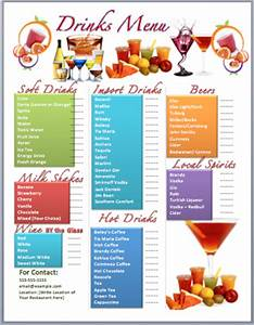 drinks bar menu template microsoft word templates With drink menu templates microsoft word