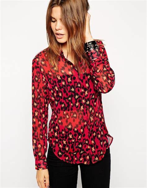 leopard print blouses asos blouse in print leopard print