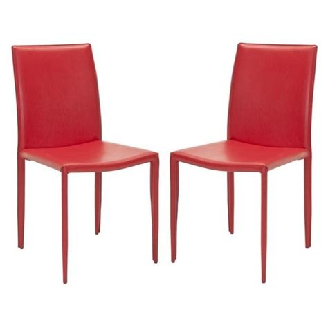 safavieh ken iron and leather kd dining chair in set