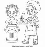 Sculptor Coloring Boy Sculpting Colouring Roman Statue Cartoon Emperor Professions Childish sketch template