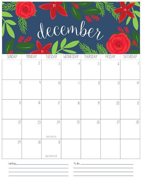 december  calendar  holidays printable net