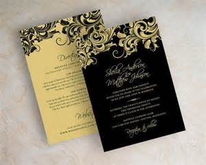 black wedding invitations gold wedding invitation paper gold 2083584 weddbook