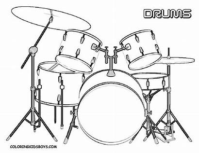 Drum Coloring Pages Musical Sketch Drums Drawing