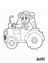 Coloring Thanksgiving Tractor Ausmalbilder Printable Farmer Boy Harvest Books Fall Coloriage Berufe Themed Traktor Vorlagen Malbuch Farm Bruder Traktoren Kinder sketch template