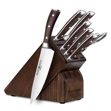 wusthof ikon blackwood knife block set  piece walnut cutlery