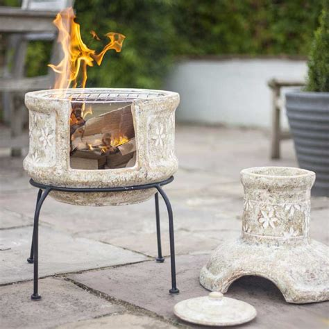 Chiminea On Sale - la hacienda flower clay chiminea grill small 75cm on sale