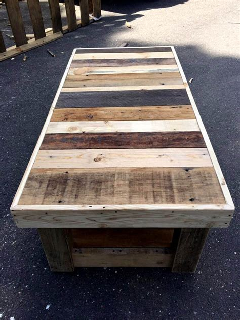 Custom Pallet Coffee Table With Glass Top  101 Pallet Ideas