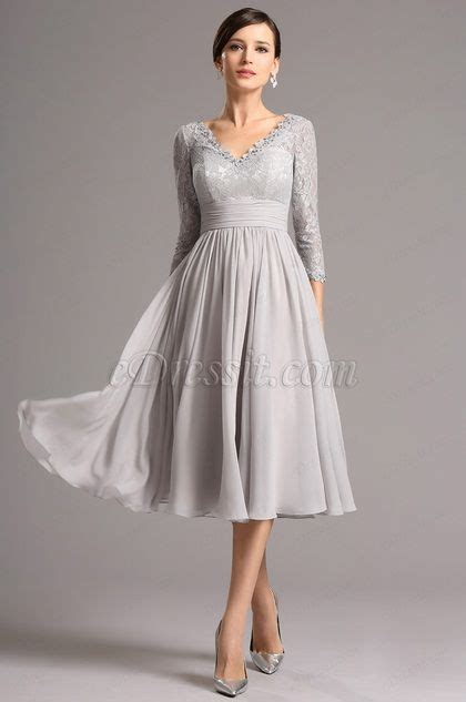 long lace sleeves plunging neck grey tea length dress