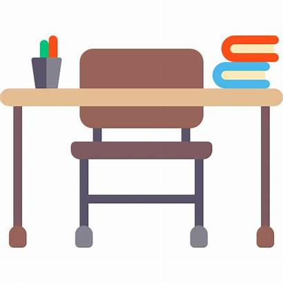 Desk Teacher Chair Classroom Icon Education Household