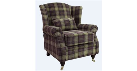 Wing Chair Fireside High Back Armchair Lana Purple Check