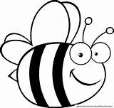 Bee Bumble Coloring Pages Cute Print Bees Cartoon sketch template