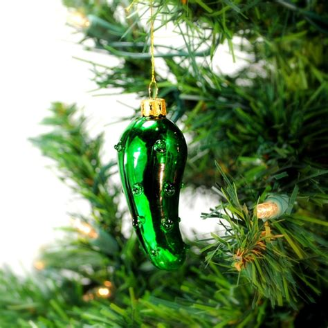 christmas pickle green glass tree ornament german legend