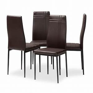 Set, Of, 4, Baxton, Studio, Matiese, Modern, And, Contemporary, Brown, Faux, Leather, Upholstered, Dining
