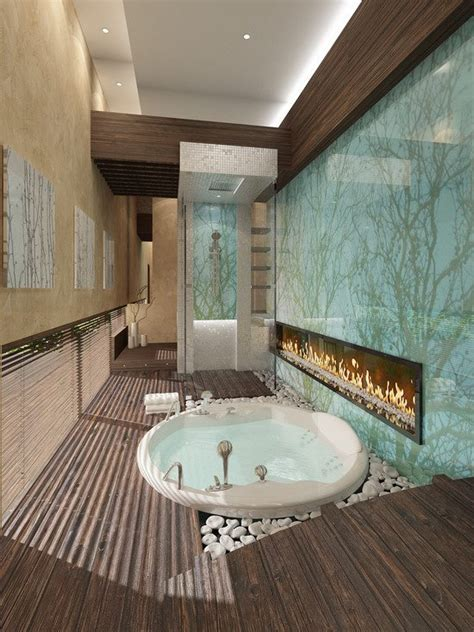stunning bathroom  fireplace find fun art projects