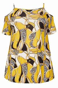Yellow Chain Print Cold Shoulder Top