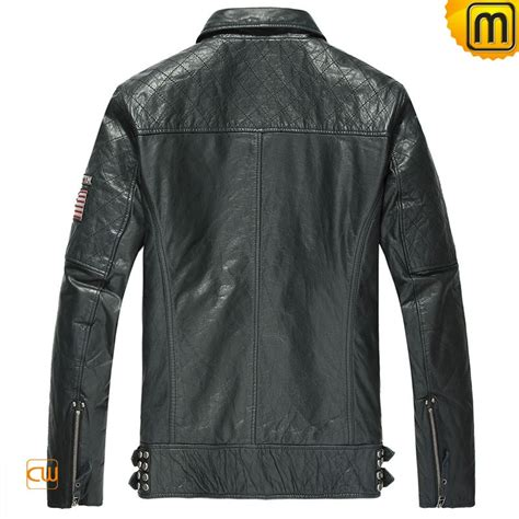 Quilted Leather Motorcycle Jacket For Men Cw850211