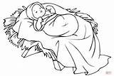 Jesus Manger Coloring Pages Printable Christmas Colouring Nativity Sheets Crafts Supercoloring sketch template