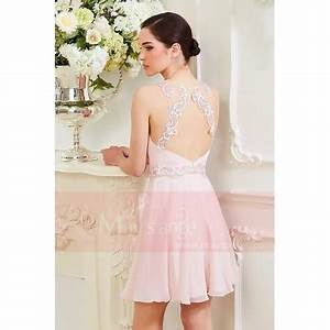 robe courte rose pale aux sublimes lignes de dentelles With robe bustier rose pale