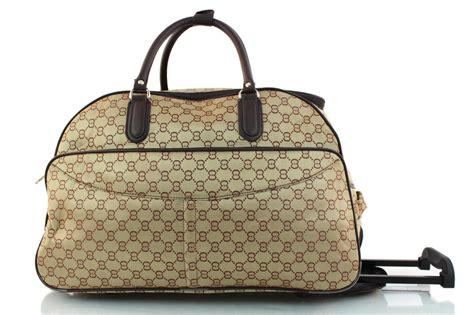 designer weekend bags new womens designer inspired wheeled holdall cabin bag