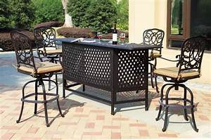 patio furniture party bar set cast aluminum 82quot 5pc florence With a k home furniture aluminium