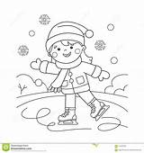 Coloring Sports Outline Skating Cartoon Winter Preview sketch template