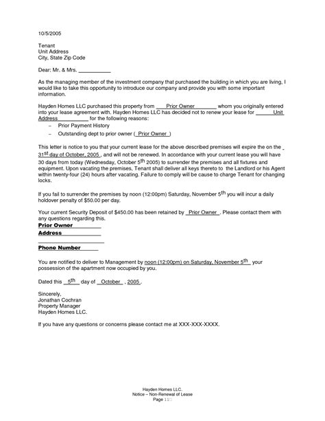 Non Renewal Of Lease Letter - Free Printable Documents