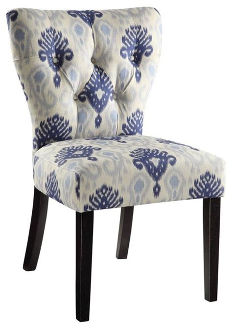 chair in medallion ikat blue contemporary armchairs