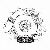 Crystal Ball Pentagram Fortune Hands Gypsy Tattoo Teller Cristal Witch Mani Magic Graphicriver Palla Cristallo Vettore Handen Arte Drawing Glaskugel sketch template