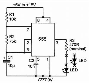 using the 555 timer ic in special or unusual circuits With singleledcircuitjpg