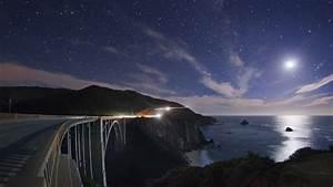 Light, Ocean, Stars, Moon, California, Roads, Night, Sky