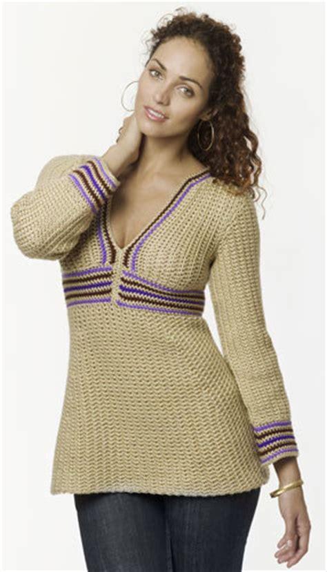 empire waist stripe tunic crochet pattern  caron yarn