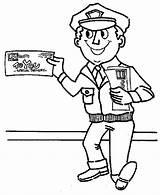 Coloring Helpers Community Postman Mr Mailman Drawing Smiling Pages Print Printable Netart sketch template