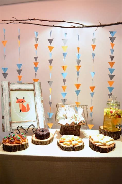simple baby shower themes sweet and spicy bacon wrapped chicken tenders backdrops garlands and triangles