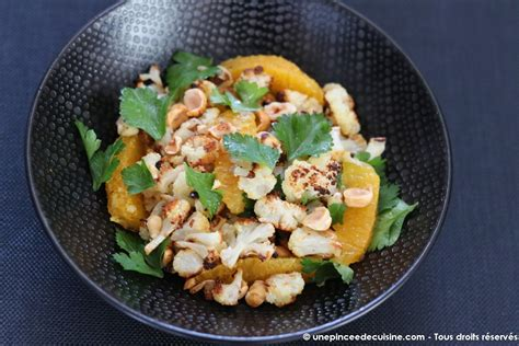 cuisine chou fleur chou fleur rôti et salade aux noisettes une pincée de