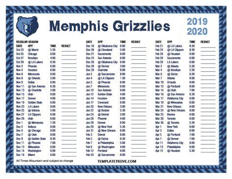 printable   memphis grizzlies schedule