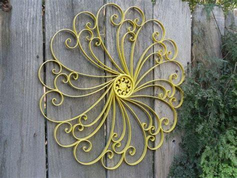 Yellow Outdoor Wrought Iron Wall Decor