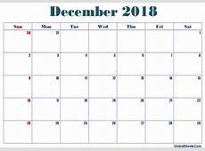 December 2018 Calendar Word Printable Letter Template